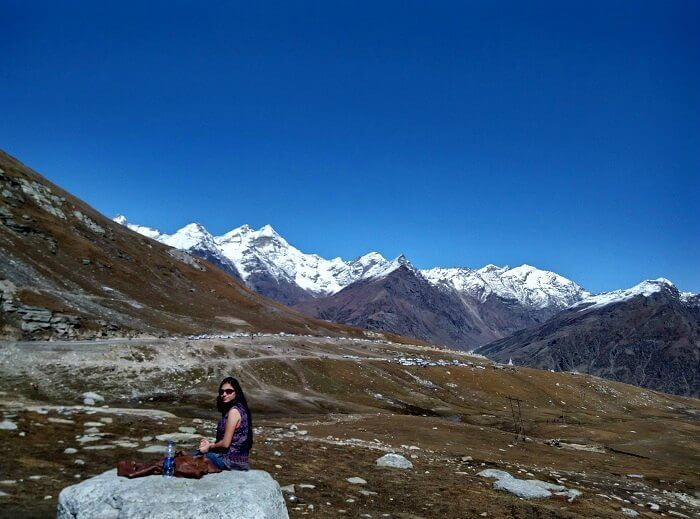 Rajeev's wife in Rohtang Pass