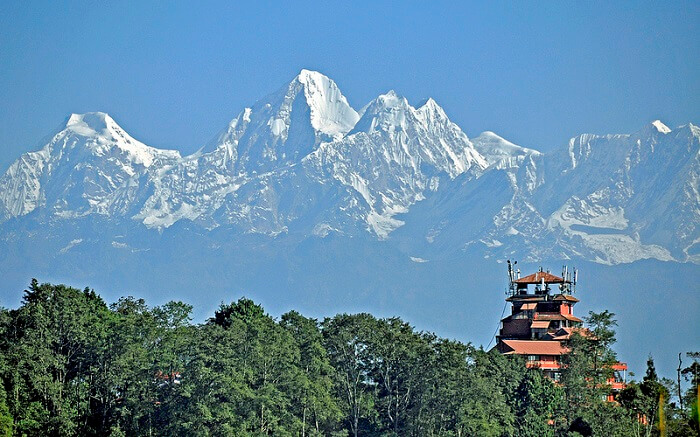 A view to the roof of the world from Nagarkot in Nepal