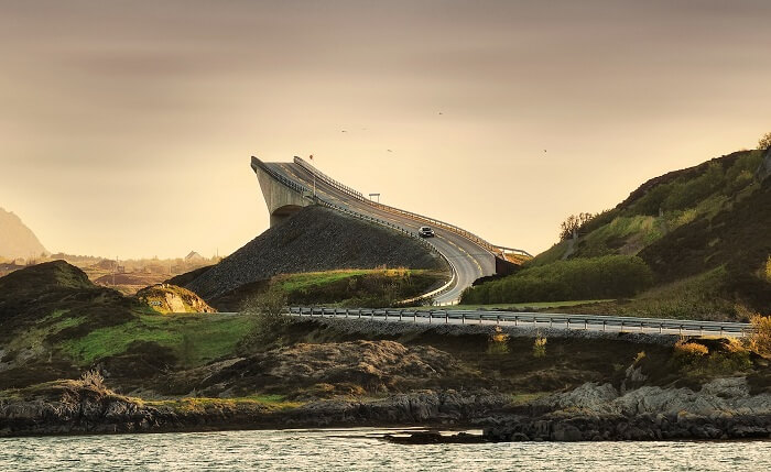 The Atlantic Ocean Road at Atlanterhavsveien in Norway appears to be leading to nowhere