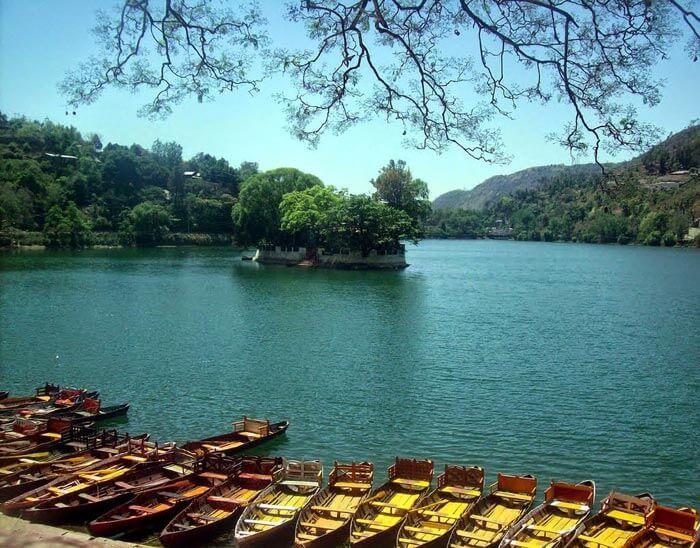 Row of boats at Bhimtal Lake in Uttarakhand