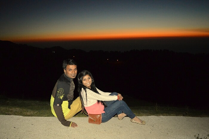 Shivani with her husband enjoying the sunset in Kalatop