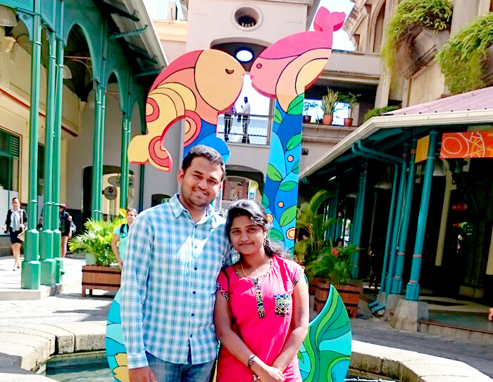 Harshvardan with his wife Swetha during his Mauritius North Tour