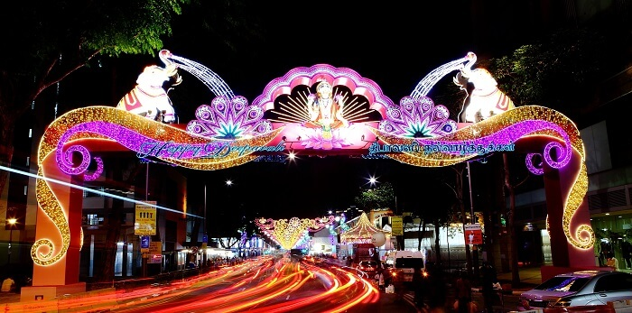 A decorated road during deepavali festival