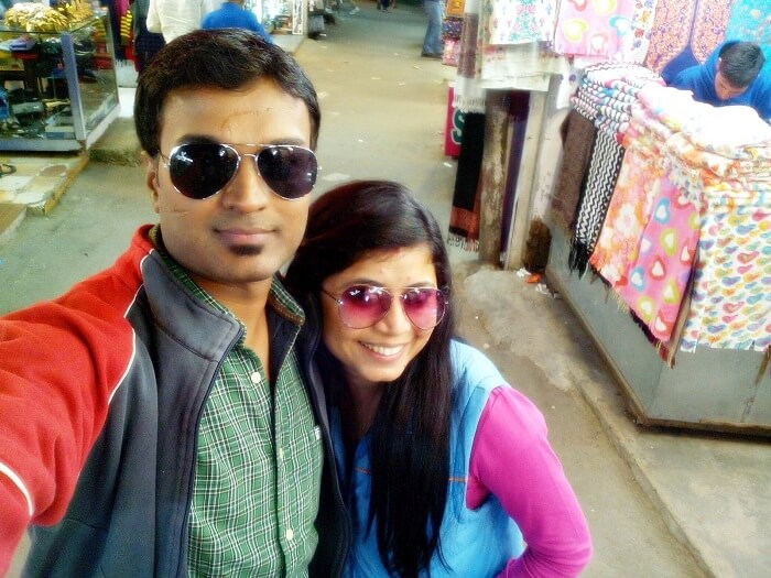 Shivani taking a selfie with her husband on the Dalhousie Mall Road