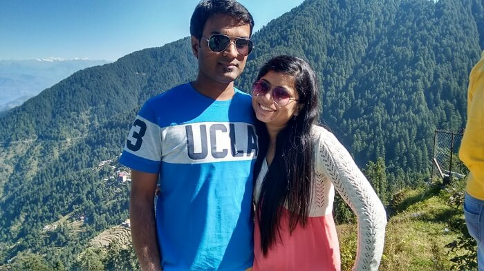 Shivani with her husband in the backdrop of Dalhousie hills