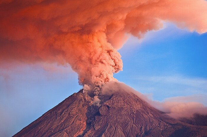 The red smoke emerging from the Mt Merapi Fire Mountain