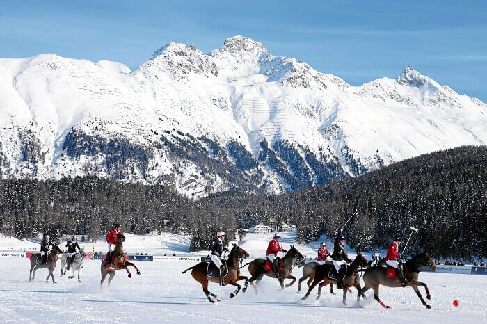 Snow polo in the snow lands of St Moritz