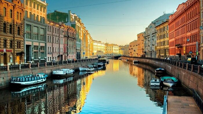 The refreshing canal amidst the land of St. Petersburg in Russia