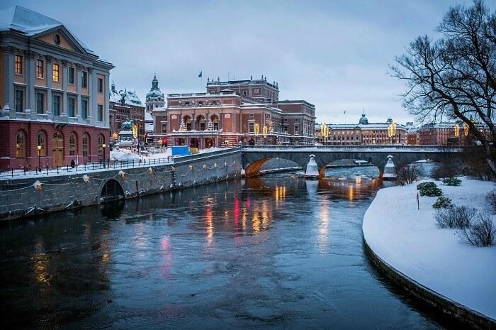The frozen banks of Stockholm in Sweden