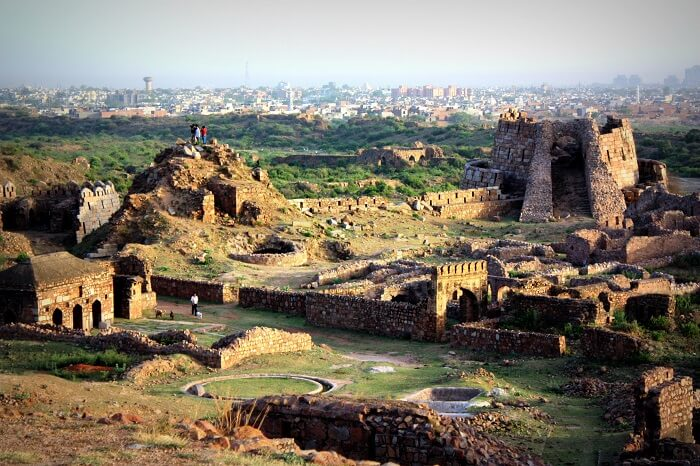 The cityscape of Delhi from the heights of Tughlaqabad fort
