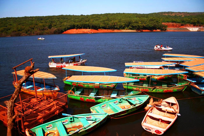 Colorful boats at Venna Lake in Maharashtra