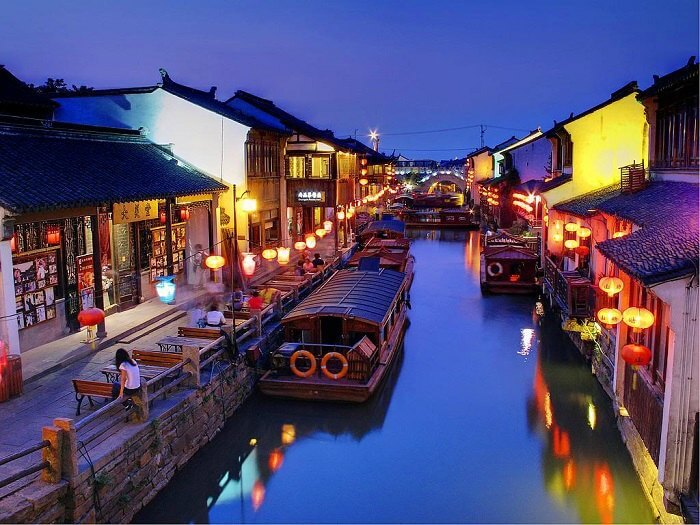 The beautiful night at the stunning canal city of Water Towns in China