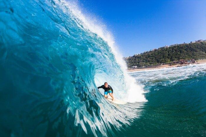 A man surfing at Durban beach