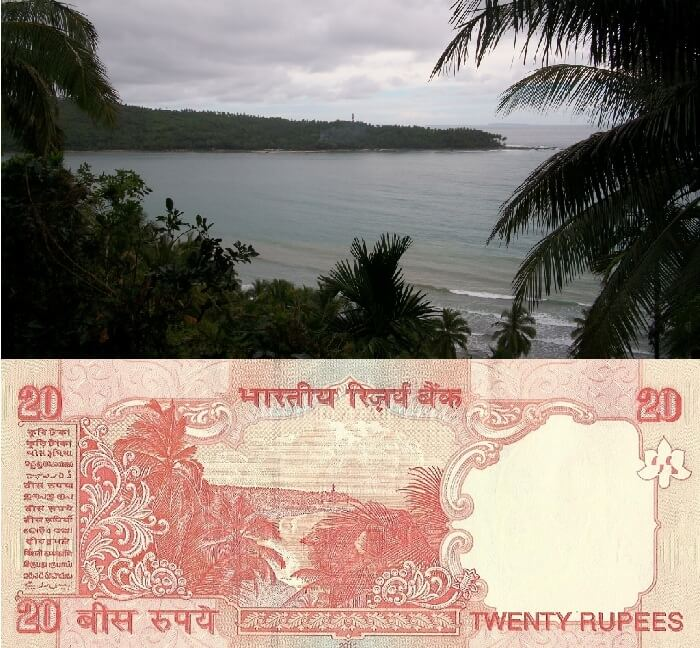 A collage of the 20 rupees note and the real-time shot of the image used on its back
