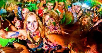 Party freaks enjoying at a Full Moon Party in Thailand
