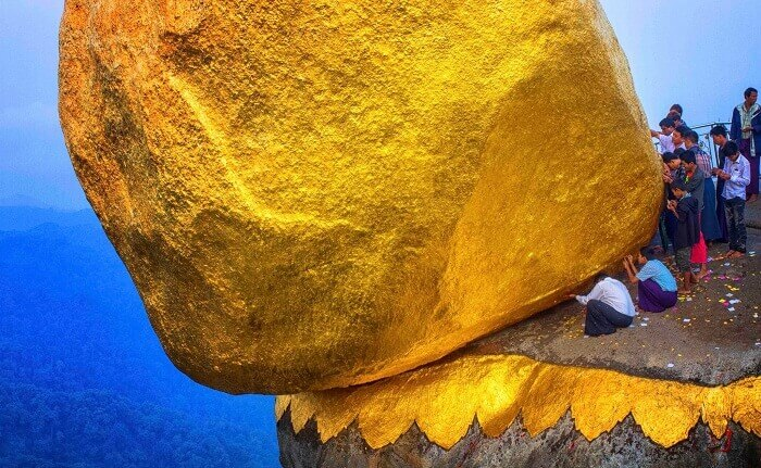 The golden rock in Myanmar is a religious but scary place to visit
