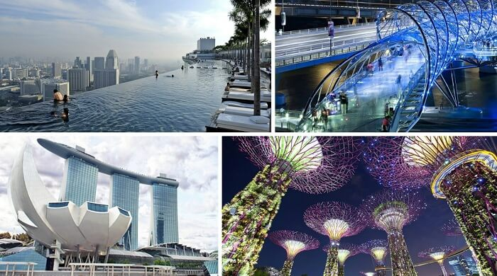 The key Singapore tourist attractions in the Marina Bay Sands resort complex
