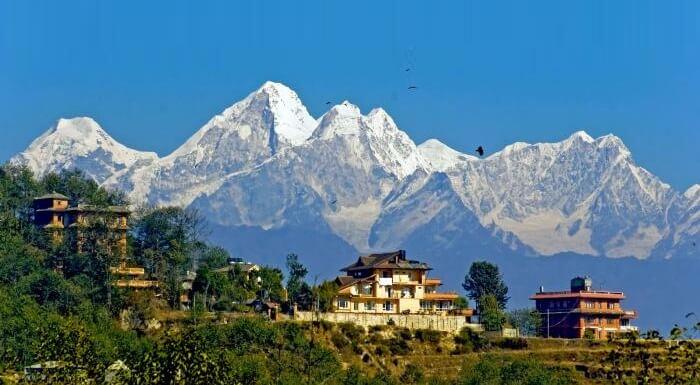 Beautiful view of the Himalayas from Nagarkot