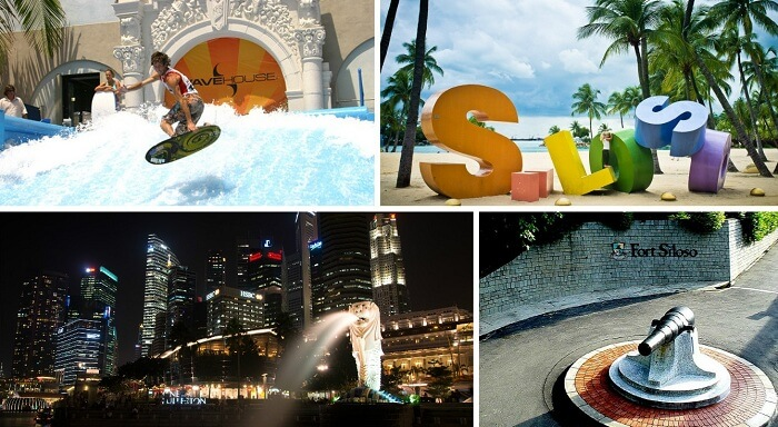 The various tourist attractions in Singapore at Sentosa resort
