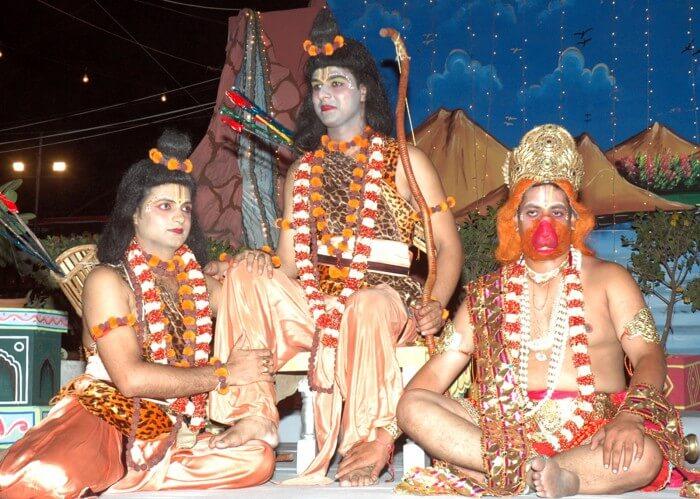 A scene from the 'Ram Leela organized by Shri Dharmic Leela Committee in Subash Maidan