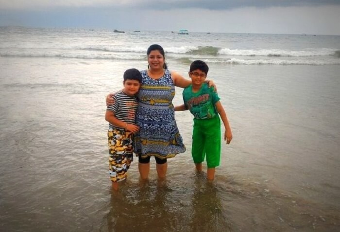 Wife and kids at Colva beach