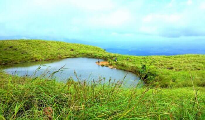 The heart shaped Chembra lake in Kerala