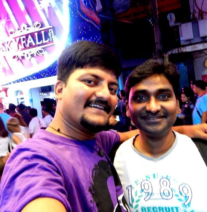 Amit and his friend on the streets of Pattaya
