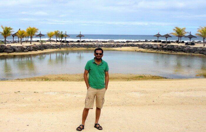 Kirandeep at the private beach of InterContinental