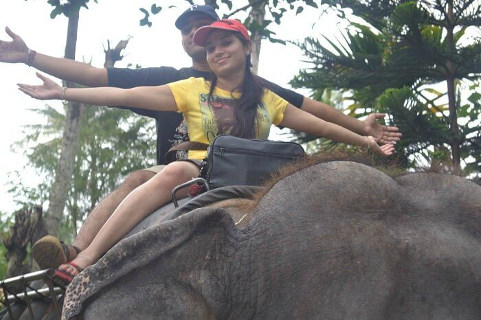 Rajeev and Neha on an Elephant tour in Thekkady
