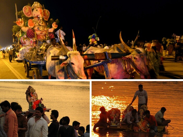 A collage of the festivities of Ganesh Chaturthi