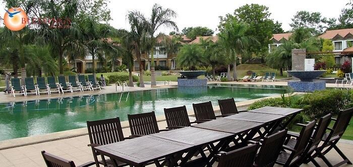 Pool at the Golkonda Resorts and Spa amidst the greenery