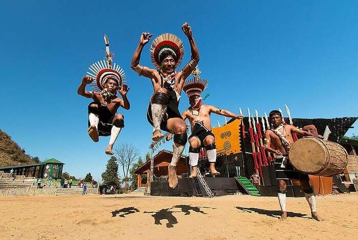 Locals performing tribal dance in Hornbill Festival
