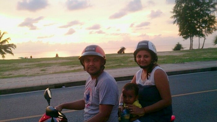 Apurva on a bike with her family near Karon Beach Phuket