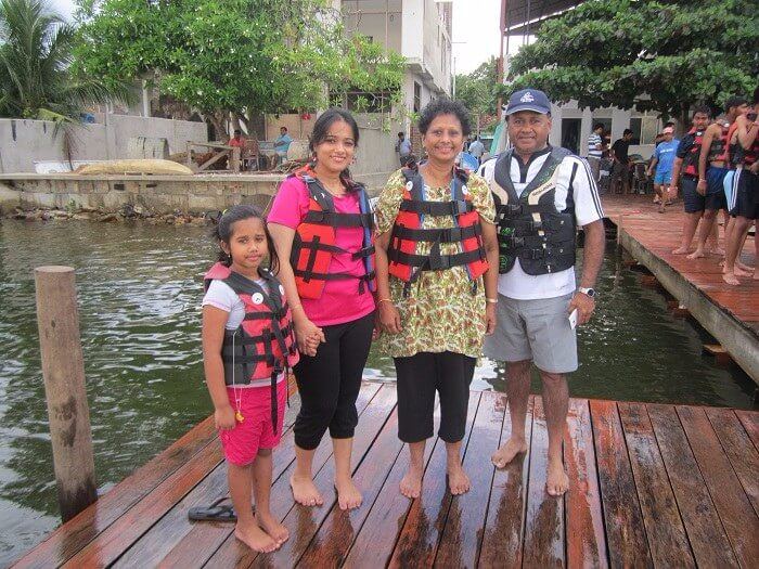 Roshan and his family at Bentota Water Sports Center