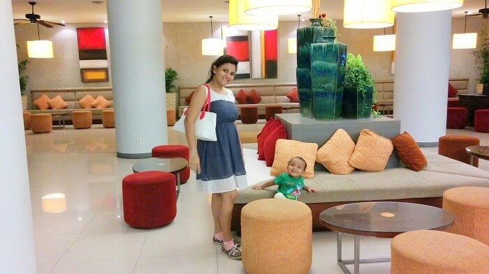 Apurva in the lobby of her hotel in Phuket Thailand