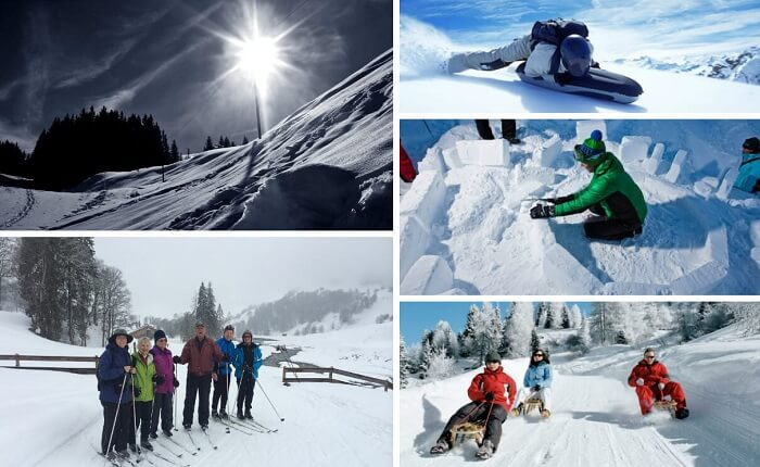 A collage of the various snow activities at Klosters Serneus Collage