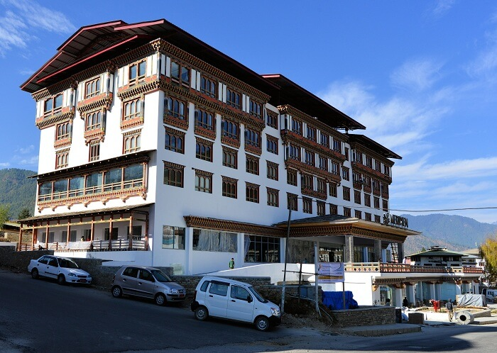 A view of the entry to the Le Meredien Hotel in Thimphu