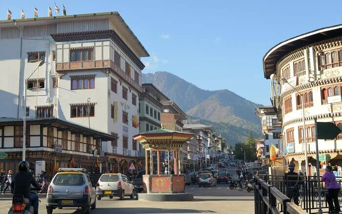 A view of the market street at Norzin Lam in Thimphu