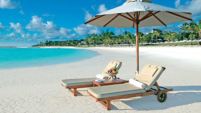 The beautiful hotel with umbrella in Mauritius