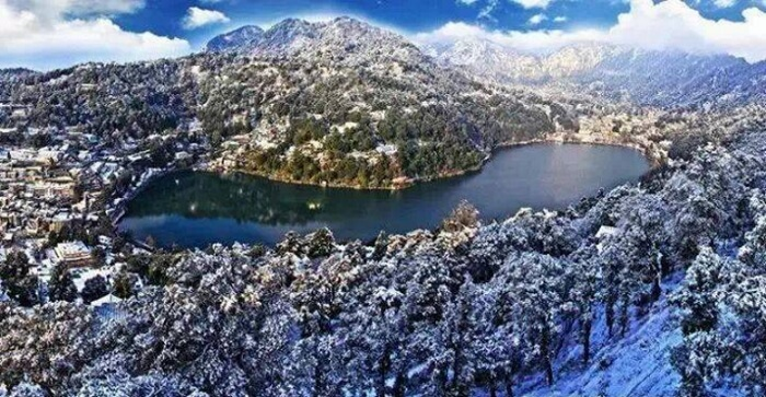 Aerial view of Nainital after snowfall