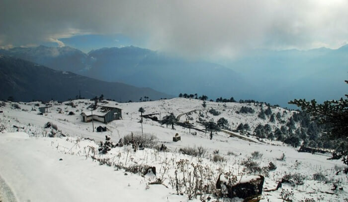 Snow covered view of Tawang