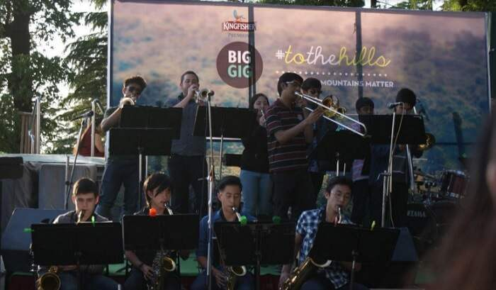 A young blues band performing at The Big Gig fest in Mussoorie