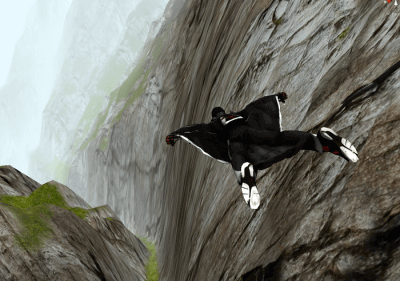 An individual practicing wingsuit flying