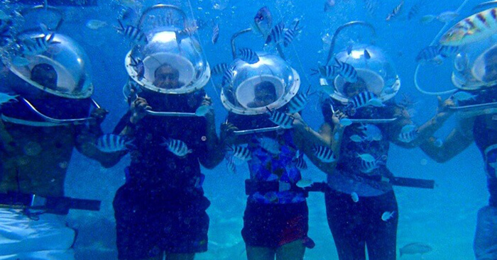 The family enjoying the underwater sea walk