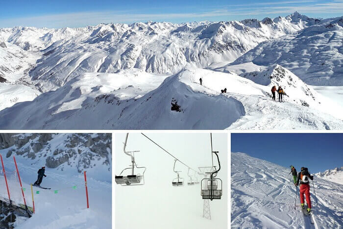 Skiing and hiking at Andermatt Ski Resort in Switzerland