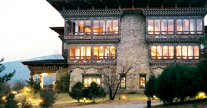The entry and drive-in to the Zhiwa Ling hotel at Paro