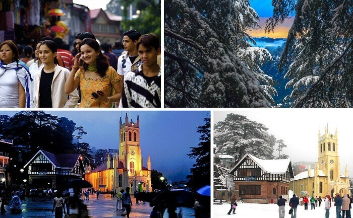 Views from the crowded Mall Road and the hills in Shimla