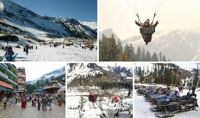 Tourists enjoy various winter sports and walk on the Mall Road at Manali