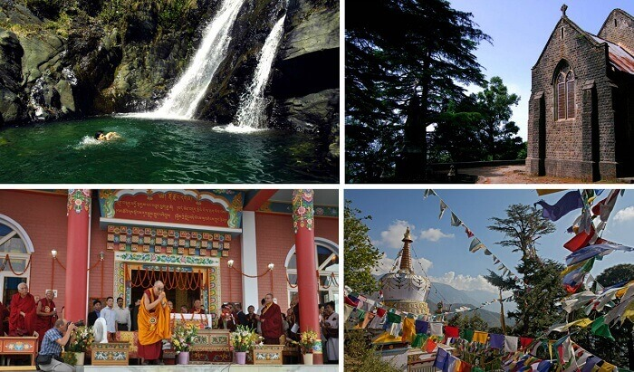 A collage of the tourist attractions at Dharamsala and McLeodganj