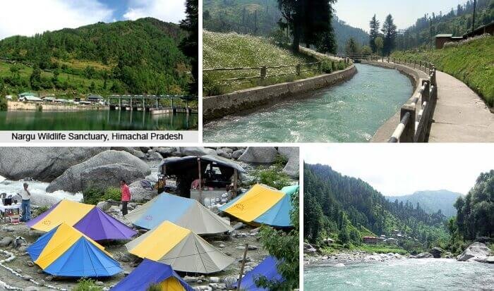 Images of the Nargu Wildlife Sanctuary and camping facilities at Barot